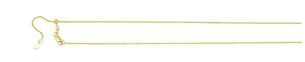 14K YG 1.05MM ADJUSTABLE ROPE CHAIN 26""