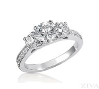 Three-Stone Diamond Semi Mount Engagement Ring with Eternity Band
