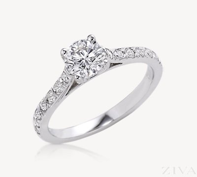 Diamond Semi Mount Engagement Ring with U-Set Round Sides Stones