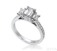 3-Stone Emerald Cut Semi Mount Engagement Ring with Eternity Band