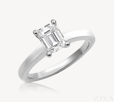 Cathedral Emerald Cut Diamond Solitaire Semi Mount Engagement Ring