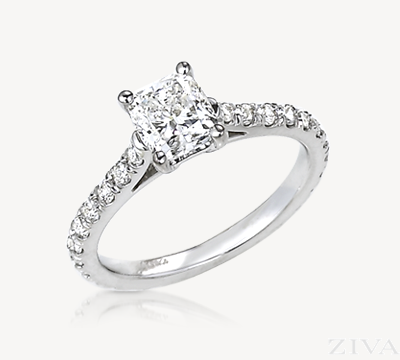 Eternity Style Cushion Cut Diamond Semi Mount Engagement Ring