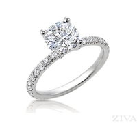 Eternity Style Semi Mount Engagement Ring with Diamond Prongs