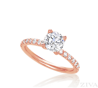 Rose Gold Semi Mount Engagement Ring with Diamonds on Prongs & Band