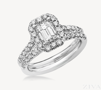 Emerald Cut Halo Semi Mount Engagement Ring with Double Diamond Band