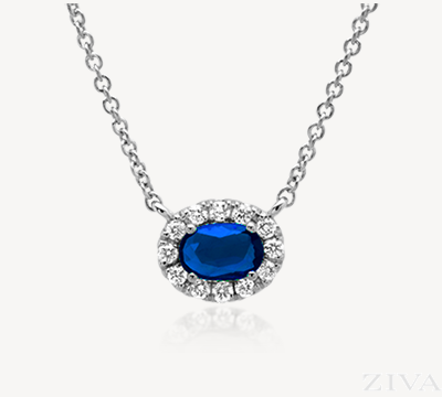 Oval Sapphire with Diamond Halo Necklace