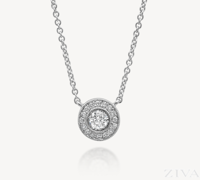 Bezel Set Round Diamond Pendant with Pave Halo