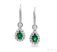 Pear Shaped Emerald and Diamond Drop Earrings