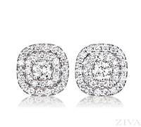 Double halo diamond stud halo earrings