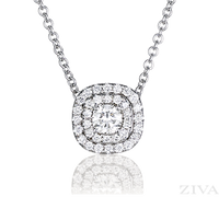 Cushion Shaped Double Halo Diamond Necklace in White Gold