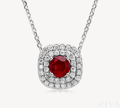 Round ruby set in two rows of square shaped diamond halos