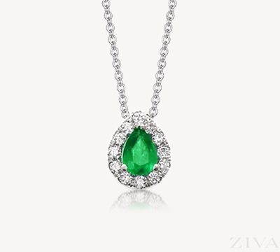 Pear Shaped Emerald Pendant with Diamond Halo