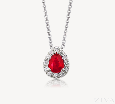 Pear Shaped Ruby Pendant with Diamond Halo