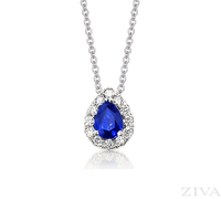 Pear Shaped Sapphire Pendant with Diamond Halo