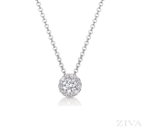 One Carat Diamond Necklace with Halo