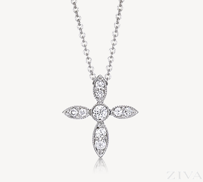 Antique Style Bezel & Pave Diamond Cross Necklace