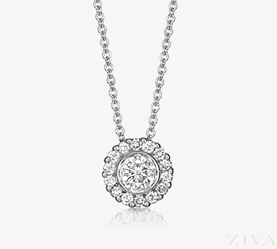 White Gold Bezel Set Diamond Pendant with Halo