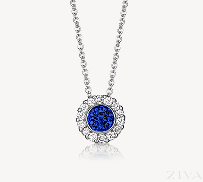 Bezel Set Sapphire Pendant with Diamond Halo