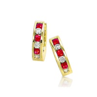 Channel Set Ruby Huggie Earrings