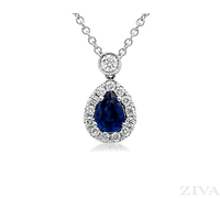 Pear Shaped Sapphire Necklace with Halo & Diamond Bail