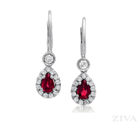 Pear Shaped Ruby and Diamond Drop Earrings