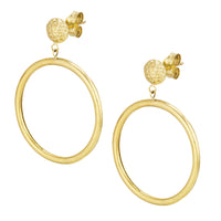 14K Yellow Gold Polish Circle with Diamond Cut Ball Post Earring