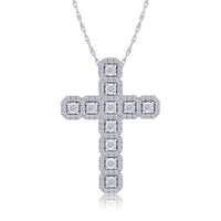 Halo Diamond Cross Pendant