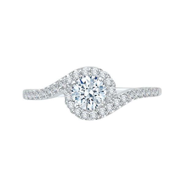 14K White Gold Round Cut Diamond Promise Engagement Ring