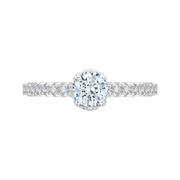 14K White Gold Round Diamond Floral Engagement Ring
