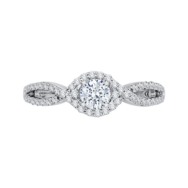 Round Diamond Engagement Ring With Split Shank In 14K White Gold