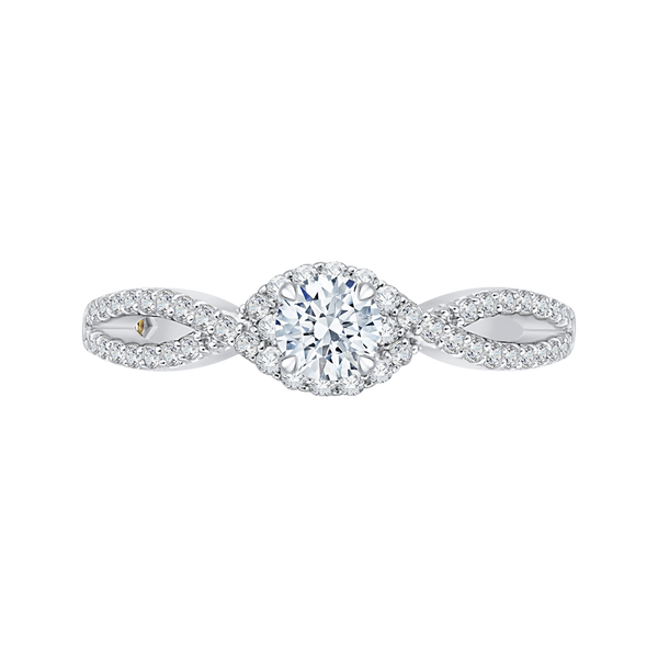14K White Gold Round Diamond Engagement Ring with Split Shank