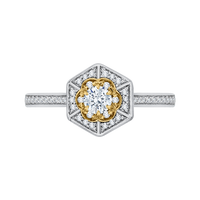 14K Two-Tone Gold Round Diamond Vintage Engagement Ring