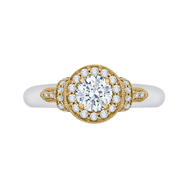 Round Diamond Halo Engagement Ring In 14K Two-Tone Gold
