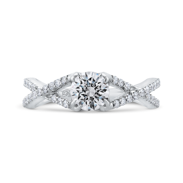 14K White Gold Round Diamond Criss-Cross Engagement Ring