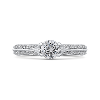 Round Cut Diamond Engagement Ring In 14K White Gold with Split Shank