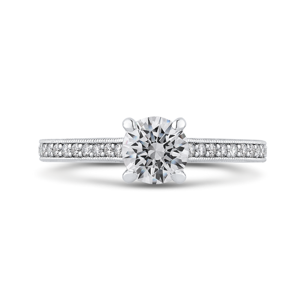 Round Diamond Cathedral Style Engagement Ring In 14K White Gold