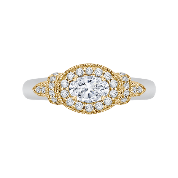 14K Two-Tone Gold Oval Diamond Halo Engagement Ring