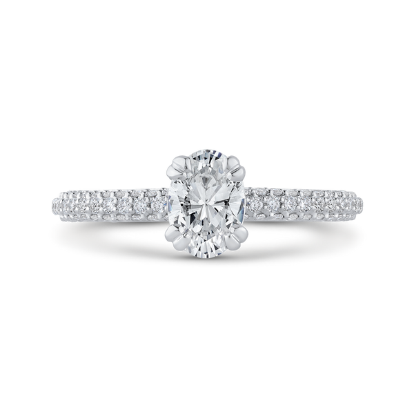 14K White Gold Oval Diamond Classic Engagement Ring