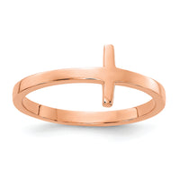 14k Rose Gold Sideways Cross Ring