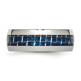 Stainless Steel Blue Carbon Fiber Inlay Polished Band