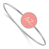 Sterling Silver Rh-Plated LogoArt Delta Zeta Enameled Slip-On Bangle
