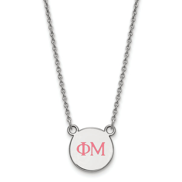 Sterling Silver Rh-Plated LogoArt Phi Mu XS Enl Pend With Necklace