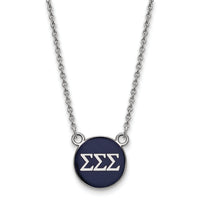 Sterling S. Rh-Plated LogoArt Sigma Sigma Sigma Sm Enl Pend With Necklace