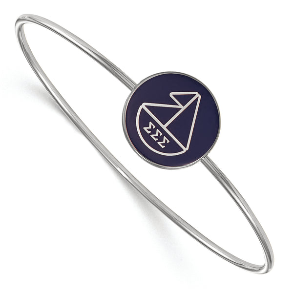 Sterling S. Rh-Plated LogoArt Sigma Sigma Sigma Enameled Slip-On Bangle