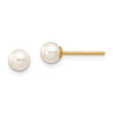 14k 4-5mm White Round Freshwater Cultured Pearl Stud Post Earrings