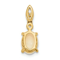 14k Gold With Austrian Opal And Diamond Pendant