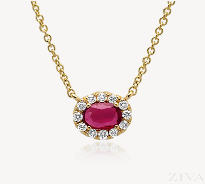 Oval Ruby with Diamond Halo Necklace