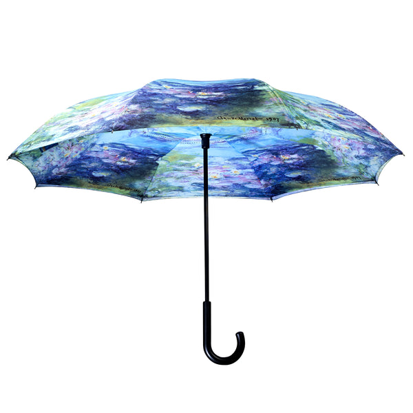 Water Lillies By Monet Reverse Close Umbrella