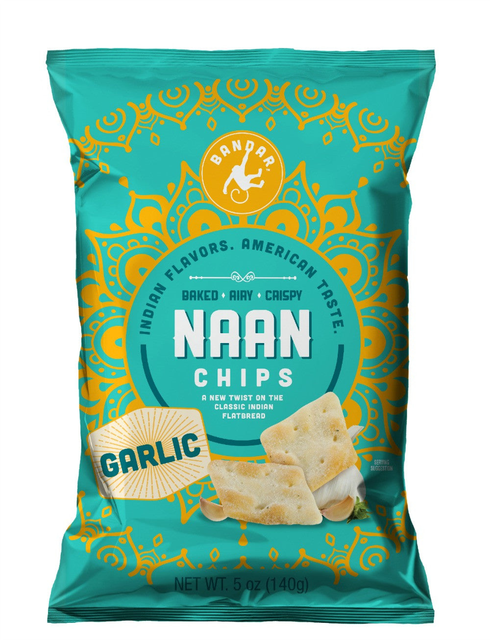 Naan Chips - Garlic - 5 oz bag - Case of 6