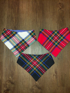 Classic Winter Plaid Flannel Snap-on Pet Bandana